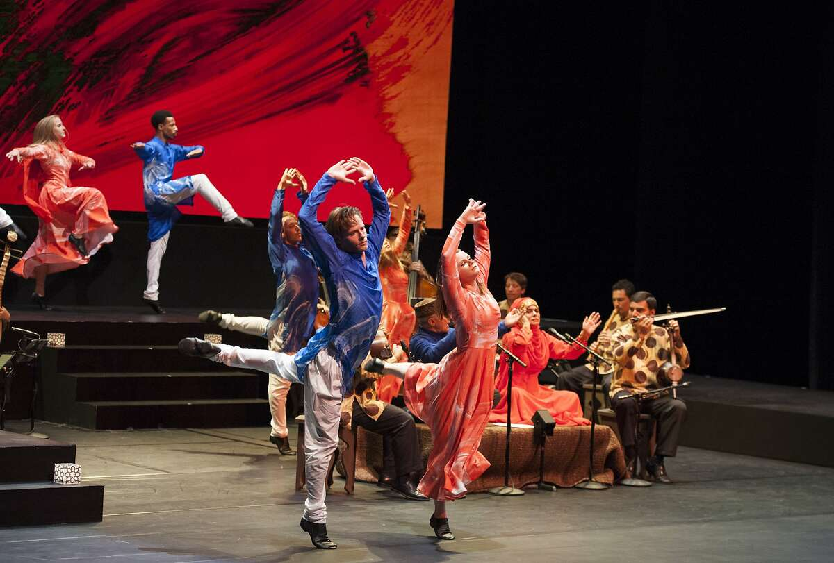 """Mark Morris Dance Group and The Silk Road Ensembl perform the world premiere of """"Layla and Majnun"""" at Cal Performances' Zellerbach Hall. The front two dancers, left to right are Billy Smith and Nicole SabellaJust behind them is Aaron Loux and Rita DonahueThe two dancers at the back, left to right are Lesley Garrison and Durell R. Comedy"""