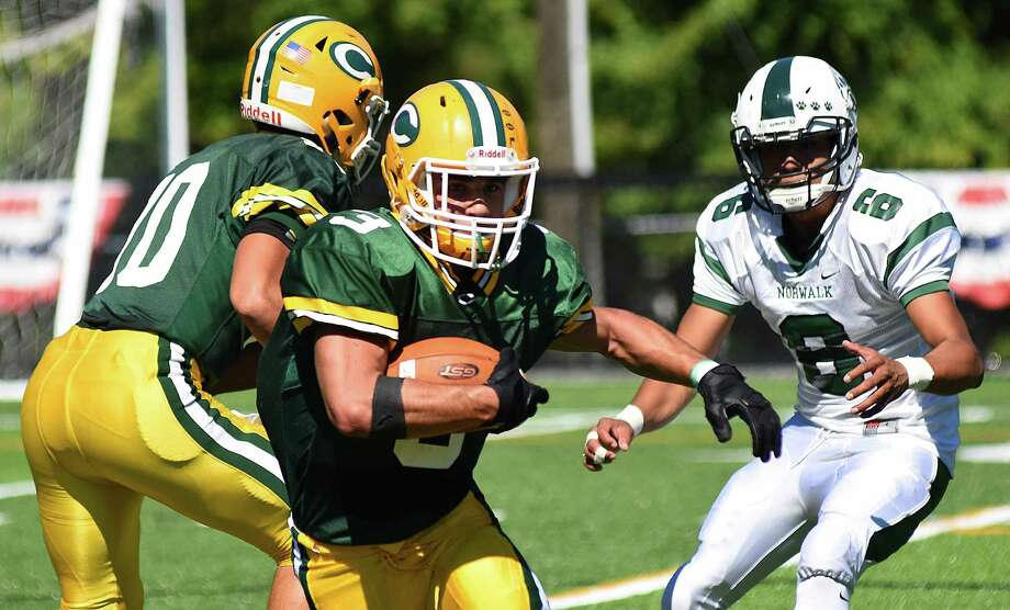 The Trinity Catholic Crusaders opened its new home field, Gaglio Field, on Saturday, Sept. 24, 2016, in Stamford, Conn., hosting Norwalk in an FCIAC football game. The host Crusaders rolled to a 52-28 win over the Bears. Photo: John Nash / Hearst Connecticut Media / Norwalk Hour