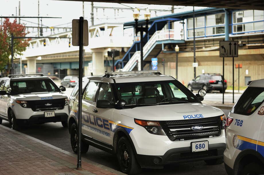 MTA Police cars parked outside the Bridgeport train station on Water Street in Bridgeport, Conn. on Thursday, September 29, 2016. Photo: Brian A. Pounds / Hearst Connecticut Media / Connecticut Post