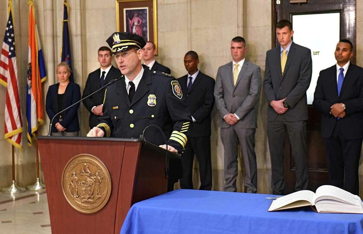 Albany Police Chief Brendan Cox speaks after Albany Mayor Kathy Sheehan swore in 11 newly hired police officers during a ceremony at Albany City Hall on Friday, Sept. 30, 2016 in Albany, N.Y. (Lori Van Buren / Times Union)