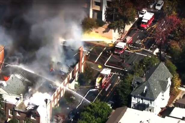 Firefighters were battling a 3-alarm blaze that broke out Friday afternoon at the historic First Congregational Church in downtown Berkeley, fire officials.