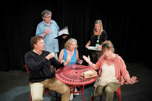 Members of the Theater Artists Workshop in Norwalk, from left, Frank Piazza, Jim Gordon, Carole Schweid, Samantha Pattinson and Kimberly Squires, rehearse for a play Gordon is writing.