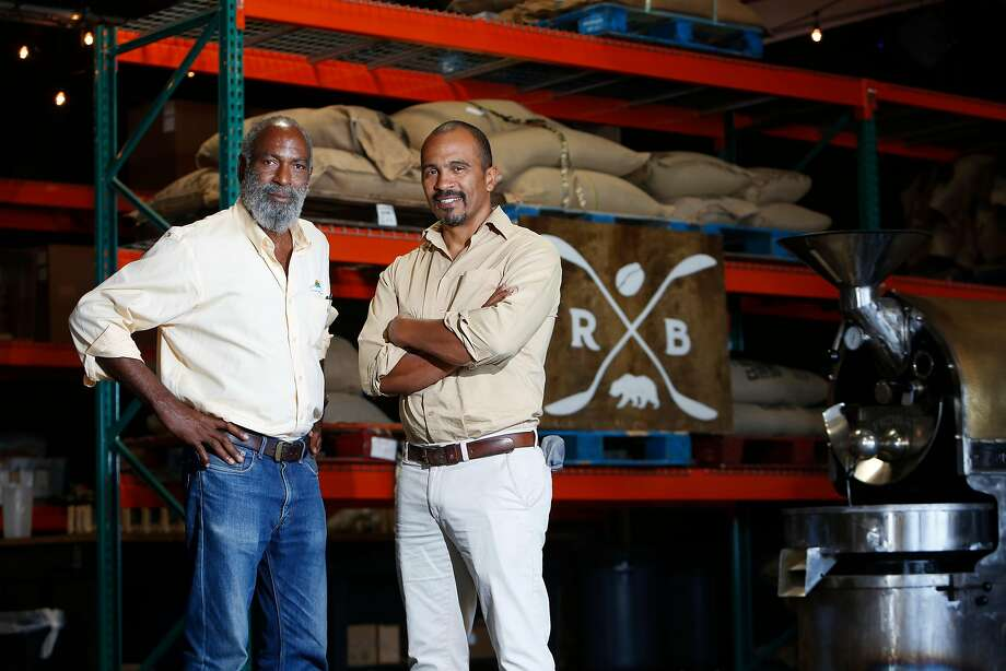 David Robinson (left), the founder of Sweet Unity Farms, and Keba Konte, founder of Red Bay Coffee. Konte says customers have inquired about his expansion plans. Photo: Lea Suzuki / The Chronicle 2016