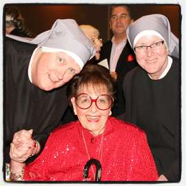 Yvonne Sangiacomo (center) is honored by Little Sisters of the Poor's Mother Theresa (at left) and Mother Margaret Charles at St. Mary's Cathedral. Sept 2016.