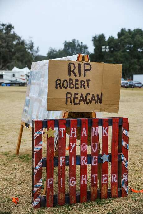 A sign at the firefighters' Toro base camp in Salinas, commemorates Robert Reagan, a bulldozer driver, who died when the truck flipped while fighting the Soberanes Fire. Photo: Gabrielle Lurie, The Chronicle