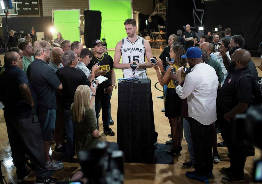 Pau Gasol speaks during media day on Sept. 26, 2016, at the Spurs' practice facility in San Antonio. Photo: Darren Abate /For The Express-News / San Antonio Express-News