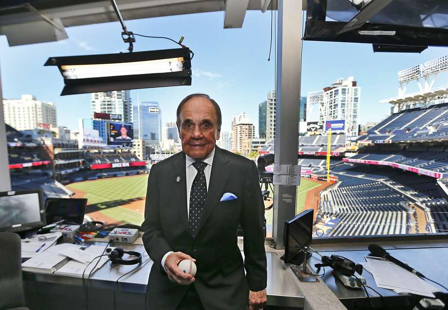In this Thursday, Sept. 29, 2016 photo, Dick Enberg, the voice of the San Diego Padres, poses in his booth prior to the Padres' final home baseball game in San Diego. (AP Photo/Lenny Ignelzi) Photo: Lenny Ignelzi, Associated Press
