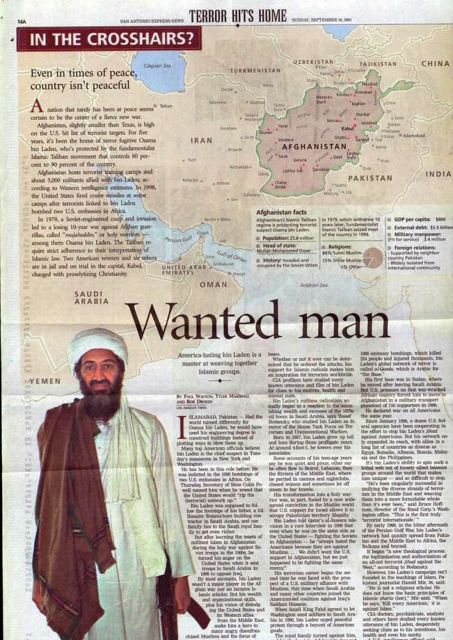 The San Antonio Express News introduced readers to Osama Bin Laden on Sept. 16, 2001, in the days after the 9/11 attacks. This image is part of a series on how the Express News explained the War in Afghanistan. Photo: San Antonio Express-News