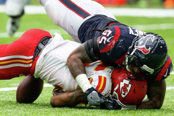 Houston Texans inside linebacker Benardrick McKinney (55) tackles Kansas City Chiefs running back Charcandrick West (35), forcing a fumble, during the third quarter of an NFL football game at NRG Stadium on Sunday, Sept. 18, 2016, in Houston. ( Brett Coomer / Houston Chronicle )