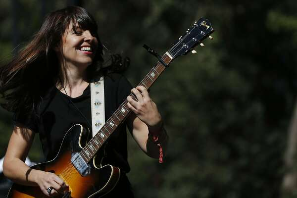 Frances Quinlan of Hop Along performs during the first day of the annual Hardly Strictly Bluegrass festival in Golden Gate Park Sept. 30, 2016 in San Francisco, Calif.