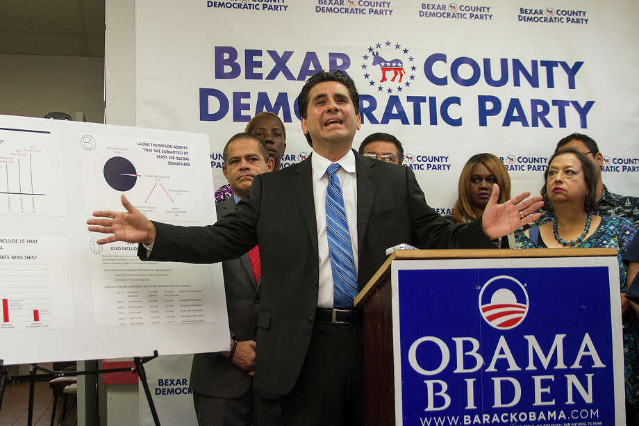 "Bexar County Democratic Party chairman Manuel Medina at a press conference, Friday, Sept. 30, 2016, to complain of ""ballot fraud"" by the GOP Texas Secretary of State. Photo: Alma E. Hernandez, For The San Antonio Express News / Alma E. Hernandez / For The San Antonio Express News"