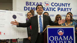 "Bexar County Democratic Party chairman Manuel Medina at a press conference, Friday, Sept. 30, 2016, to complain of ""ballot fraud"" by the GOP Texas Secretary of State."