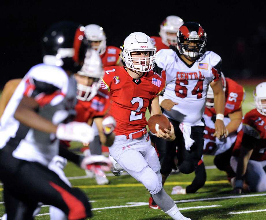 At center, Greenwich running back Kevin Iobbi (#2) scores during the second quarter of the high school football game between Greenwich High School and Bridgeport Central High School at Greenwich, Conn., Friday night, Sept. 30, 2016. Photo: Bob Luckey Jr. / Hearst Connecticut Media / Greenwich Time