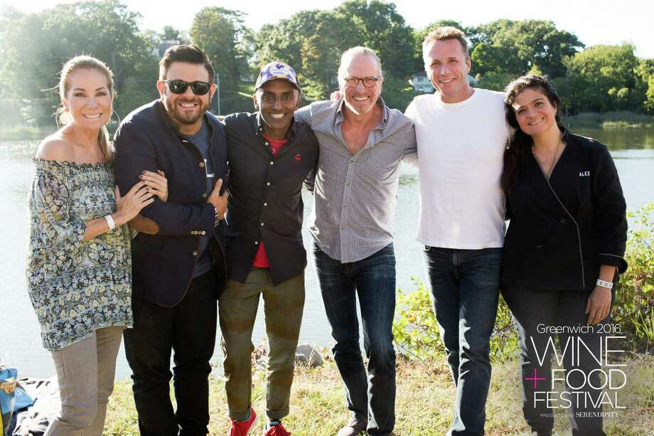 From left are Kathie Lee Gifford, TV personality Adam Richman and celebrity chefs and restaurateurs Marcus Samuelsson, Michel Nischan, Marc Murphy and Alex Guarnaschelli at the Greenwich Wine+Food Festival last weekend. Photo: Contributed /