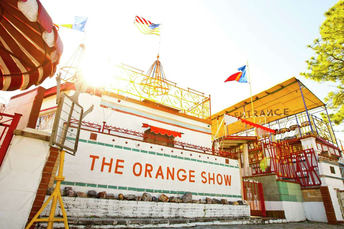 The Orange Orange Show in Houston. The Orange Orange Show was opened by Jeff McKissack who built the structure of walkways, balconies, and arenas decorated with mosaics and brightly painted iron figures May 9, 1979. The materials used is common building materials and recycled junk such as bricks, tiles.