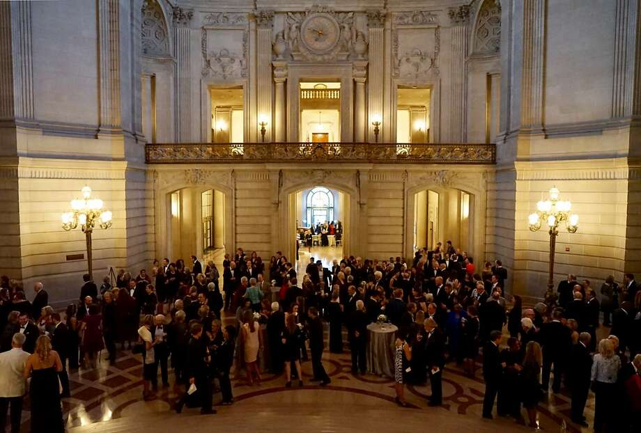 Attendees gather for Ruth Felt's retirement party at City Hall on Sept. 30. Felt is stepping down from running San Francisco Performances, which she founded in 1979. Photo: James Tensuan, Special To The Chronicle