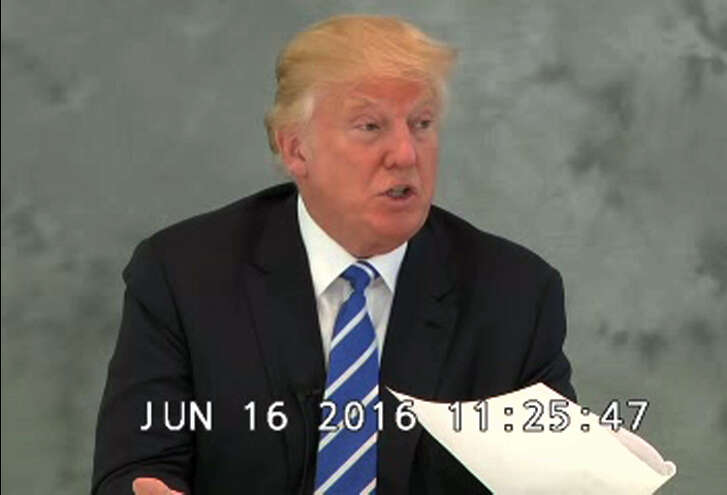 "In this image from video provided via CBS News, Donald Trump speaks during a videotaped deposition on June 16, 2016. In the newly released videotaped deposition, Trump says his presidential run could boost business at his hotels and increase the value of his personal brand. Video of Trump's deposition from June was released under court order on Sept. 30 following requests filed by a coalition of media companies. Trump's company sued Geoffrey Zakarian last year after the restaurateur withdrew from a lease to open a high-end eatery in the newly opened Trump International Hotel in Washington hotel after the candidate characterized Mexicans as being criminals, drug dealers and rapists. Trump testified his didn't think his widely criticized comments were ""too bad"" because he went on to win the Republican presidential nomination. (CBS News via AP)"