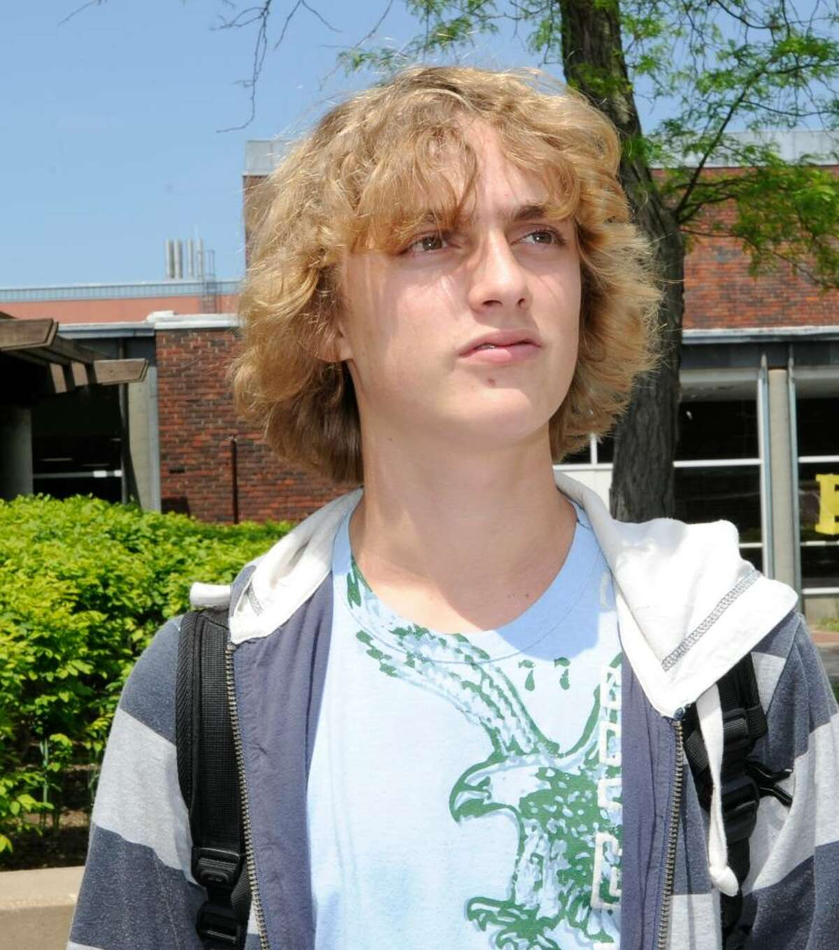 Alexander Ertel, 15, a sophmore at Greenwich High School speaks about cell phone usage at the school, on Thursday, May 6, 2010.