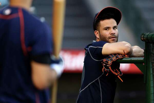 ANAHEIM, CA - SEPTEMBER 30:  Jose Altuve #27 of the Houston Astros looks on at the batting cage prior to a game against the Los Angeles Angels of Anaheim at Angel Stadium of Anaheim on September 30, 2016 in Anaheim, California.