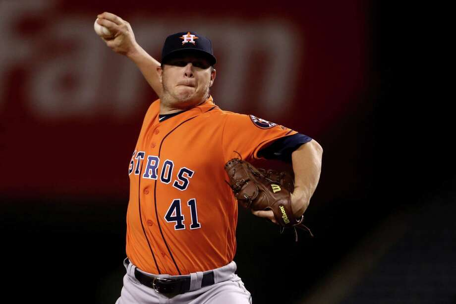 ANAHEIM, CA - SEPTEMBER 30:  Brad Peacock #41 of the Houston Astros pitches during the first  inning of a game against the Los Angeles Angels of Anaheim at Angel Stadium of Anaheim on September 30, 2016 in Anaheim, California. Photo: Sean M. Haffey, Getty Images / 2016 Getty Images