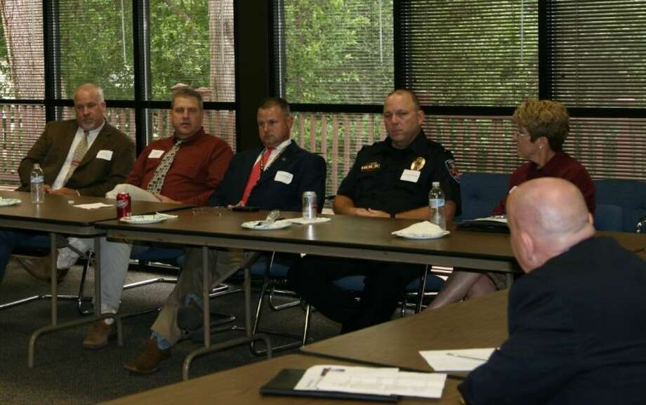 Law enforcement officials from San Jacinto, Walker and Trinity counties met with U.S. Representative Kevin Brady (R-8th) at a roundtable discussion in Huntsville to voice their concerns about the realities they face and the help they could use from elected leaders to meet the needs of the community.