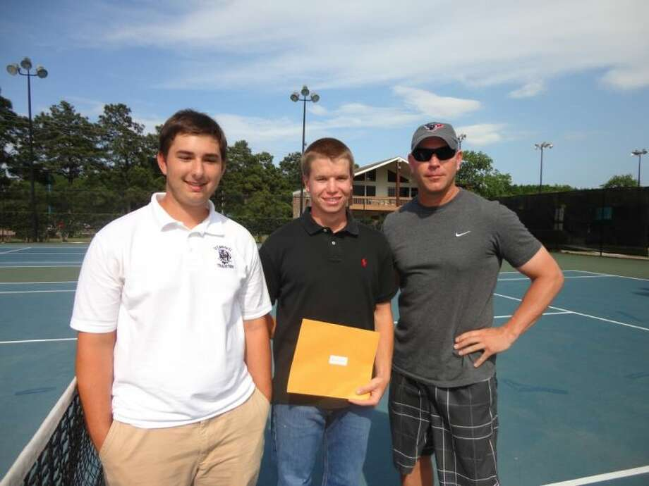 Andrew Lajaunie (left) presents the Grand Slam College Scholarship to Russell Bell (middle) of Clear Lake High School. At right is Bay Area Racquet Club coach John D. Severance.