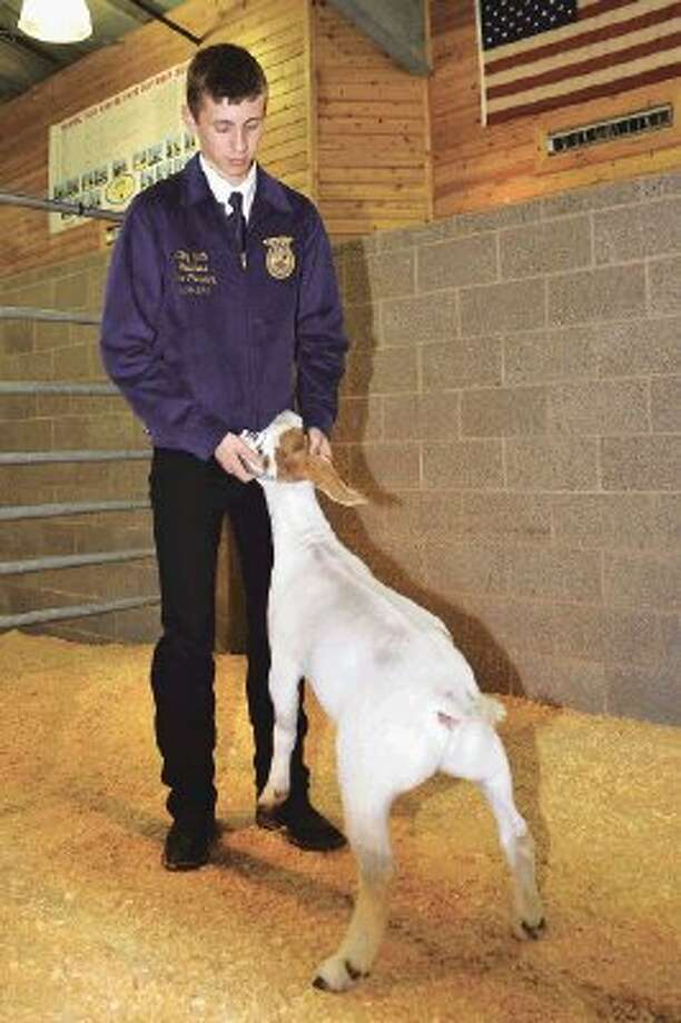 Cypress Ranch High School freshman Clay Spidle had the grand champion market goat at the CFISD Livestock Show and Sale last weekend. The goat sold to Worldwide Equipment, Kodiak Gas Service and Ermsco Inc. for $9,000.