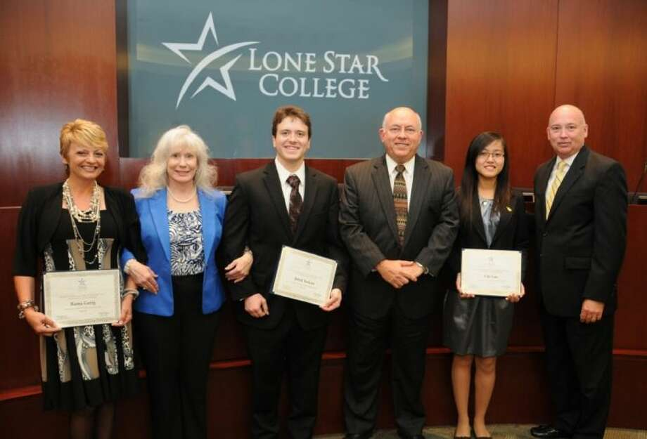 The Lone Star College System 2013 Jack Kent Cooke Foundation scholarship winners were recognized at the LSCS Board of Trustees meeting on May 2. Pictured, left to right are: Rama Gerig; Dr. Susan Karr, president, LSC-Tomball; Jared Nelson; Dr. Richard Carpenter, LSCS chancellor; Chi Cao; and Dr. Steve Head, president, LSC-North Harris.