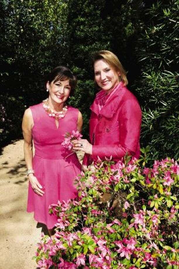Azalea Trail Chairs (L to R) Cathy Cleary and Camille Patton at the Bayou Bend Collection and Gardens in Houston. / HCN