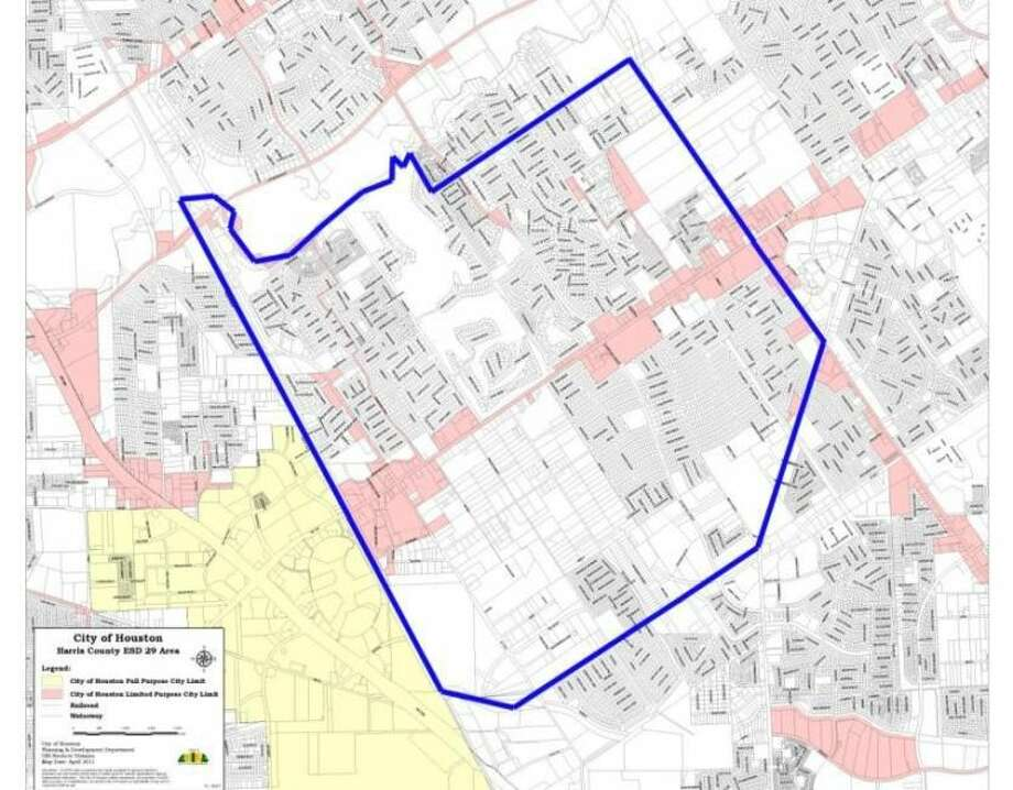A map shows ESD #29 boundaries in blue, and the areas in pink that are already at 8.25 percent sales tax and will not change as a result of the election.
