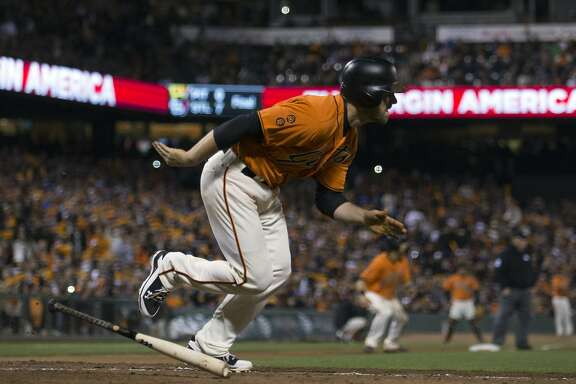 San Francisco Giants� Conor Gillespie leaves the batter's box on his two-run double against the Los Angeles Dodgers during the sixth inning of a baseball game, Friday, Sept. 30, 2016, in San Francisco. (AP Photo/D. Ross Cameron)