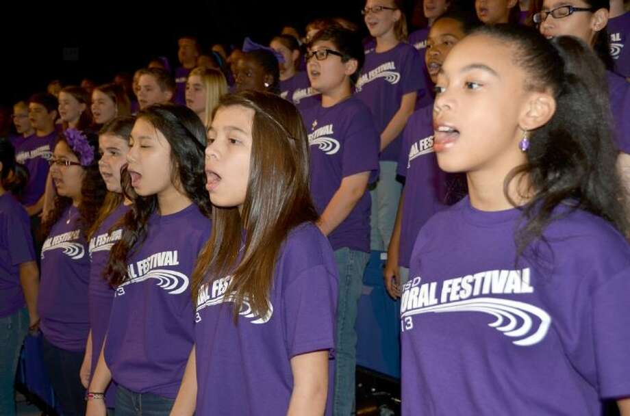 The Elementary Choral Festival featured more than 300 fifth-grade students from CFISD coming together for a rousing performance last April at the Berry Center.
