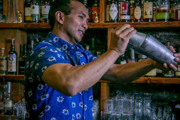 Owner/Bartender Kevin Diedrich makes cocktails at Pacific Cocktail Haven in San Francisco, Calif. on September 30th, 2016.