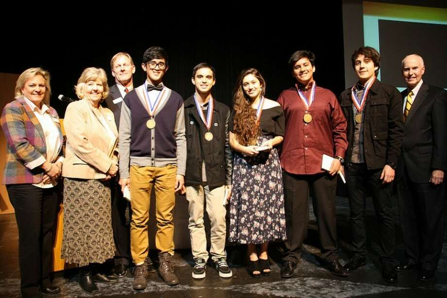 Klein Oak High students Leo Deras, Fawad Kahn, Ashleigh Ligon, Michael Luster and Christain Medina took the top award for the 11th and 12th grade category for their film about diversity.