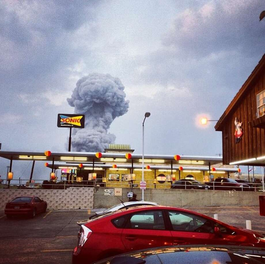 In this Instagram photo provided by Andy Bartee, a plume of smoke rises from a fertilizer plant fire in West, Texas, Wednesday. An explosion at a fertilizer plant near Waco Wednesday night injured dozens of people and sent flames shooting high into the night sky, leaving the factory a smoldering ruin and causing major damage to surrounding buildings.