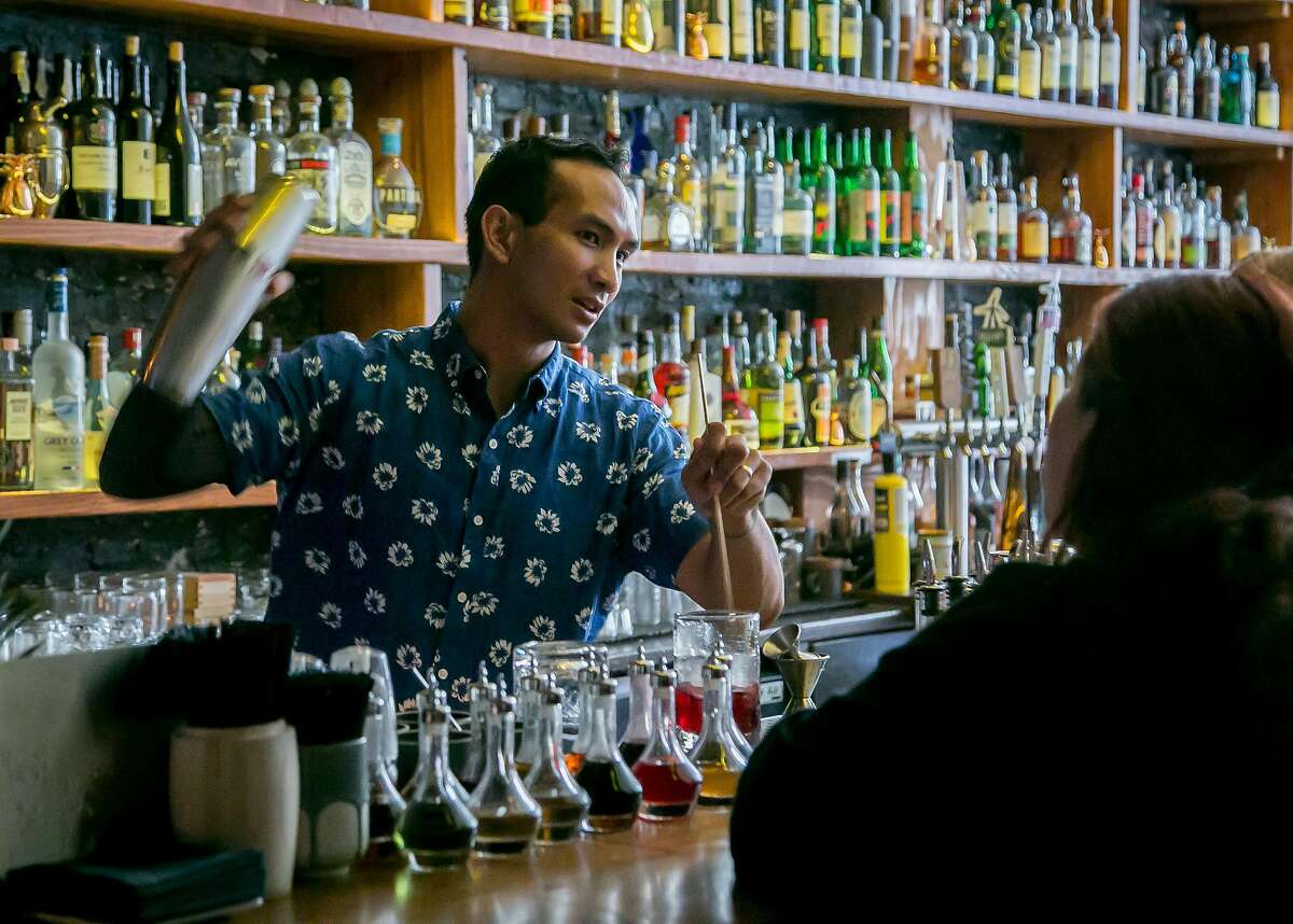 Owner/Bartender Kevin Diedrich makes cocktails at the Pacific Cocktail Haven in San Francisco, Calif. on September 30th, 2016.