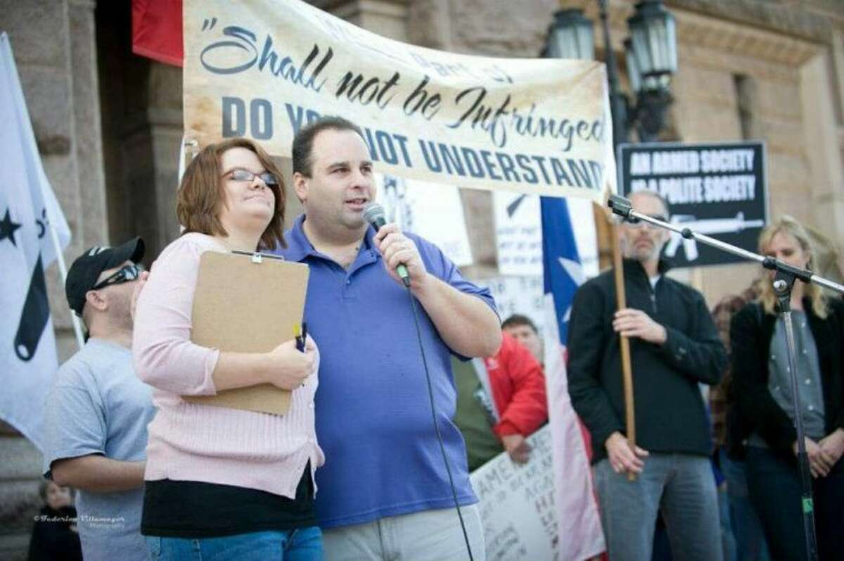 """Eric Reed, founder of Gun Rights Across America, and Shannon Montague, the groups vice president, speak at a Second Amendment rally in Austin Jan. 19. GRAA is planning an """"informal gathering"""" in The Woodlands July 20 to unite gun rights advocates."""
