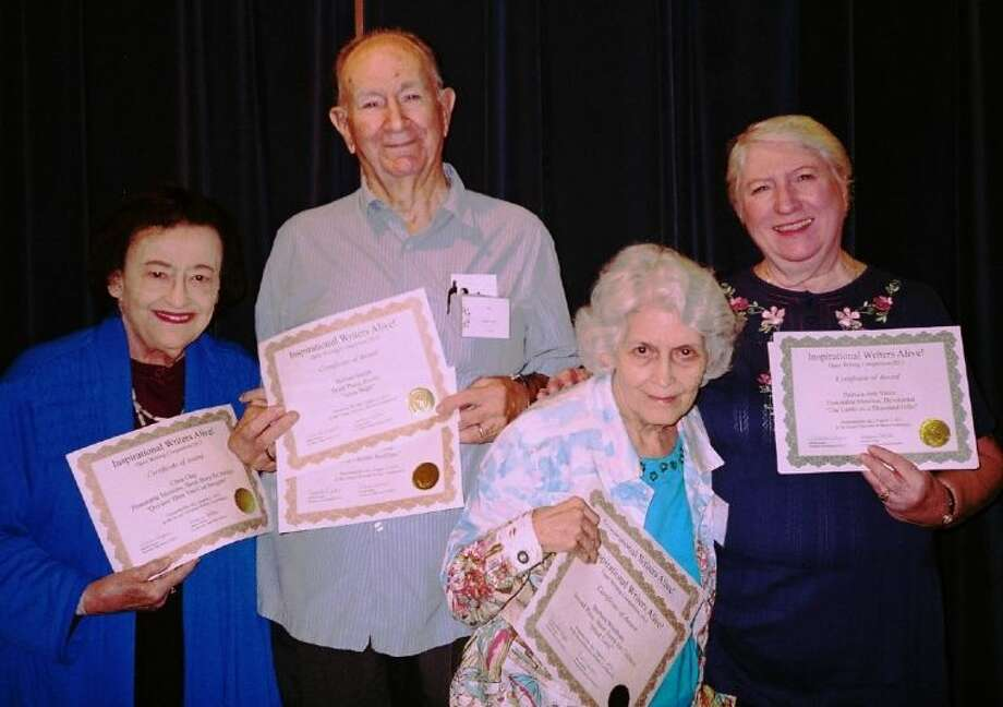 Members of Pasadena Main Chapter of Inspirational Writers Alive! prove to be winners at the recent IWA! Conference. Pictured, from left, Clara Clay, two Honorable Mentions in adult short stories; Herbert Smith, a first place in drama and third in poetry; Barbara Windham, second in children's short story, and second in drama; and Pat Vance, first in book proposal, second in book proposal, second in short story, second in devotional and an honorable mention for a second devotional. Others not present are: Bill Bage,first for children's short story and honorable mention in poetry; Meleissa Creel, two third places for a book proposal and short story for children; for Augusta Hodges, an honorable mention for an article; and Suzette Pruit, with an honorable mention in article category.
