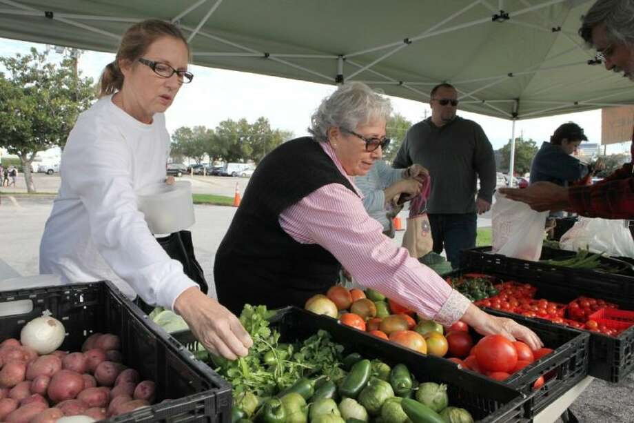 Rhonda Gay (left) and Martha Gonzalez shop for produce at Peas Farm at the Westchase Farmers Market.