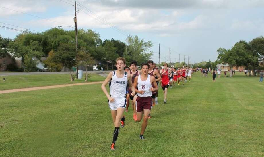 Mustang Grant Tillinghast works his way through the pack at the Clear Lake Invitational on Friday where Kingwood took home its second team title in as many weeks.
