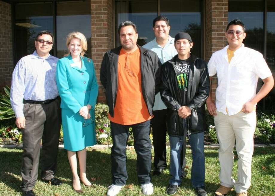 Three College of the Mainland students are heading to Canada to learn about green building techniques. From left, COM director of international affairs Martin Perez, Vice President of Instruction Dr. Amy Locklear, student Anthony Solis, professor Luis Sabido, student Julian Saldierna and student Leonardo Hernandez.
