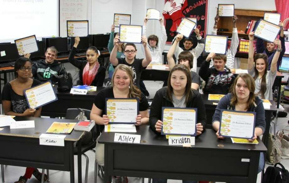These Coldspring-Oakhurst High School Career Prep students will be able to include their JA Business Ethics certificates in their resumes and college applications. The class was mentored for seven weeks by retired ExxonMobil manager James Chesser through a program sponsored by Junior Achievement USA.