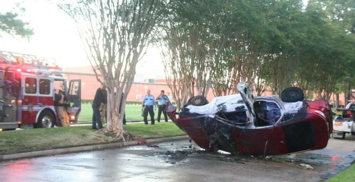 Houston Fire Department responded to a car fire Tuesday on Northpark Plaza Dr.