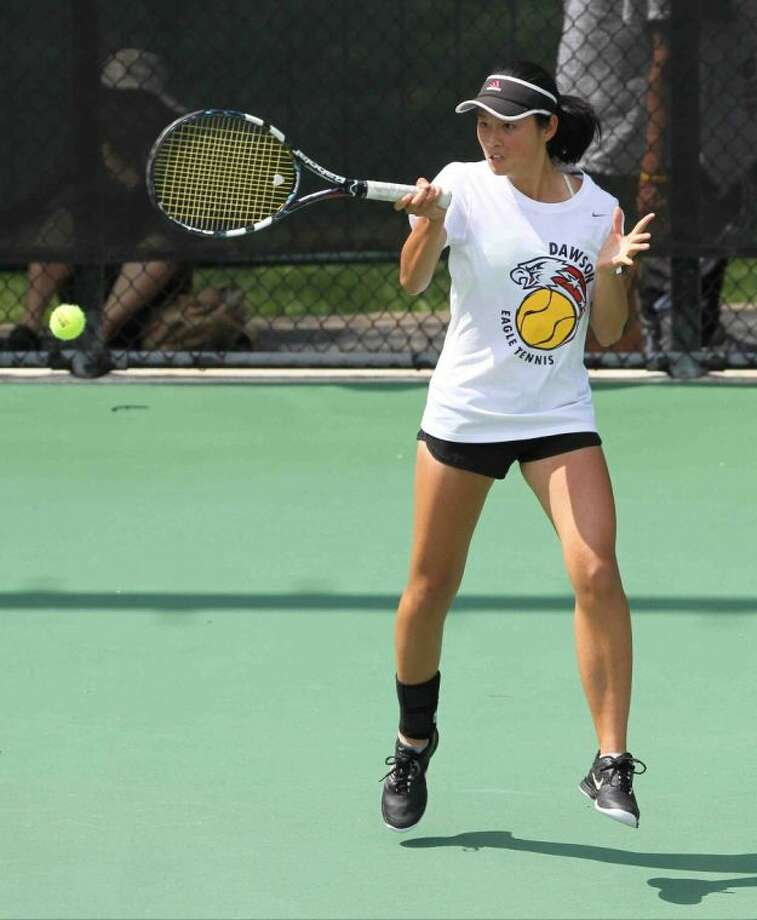 Pearland Dawson's Kelly Zhu defeated Frisco Liberty's Lindsey Bennett and El Paso's Sarah Savedra to reach the Class 4A girls singles finals at the UIL State Tennis Tournament in Austin Monday. Zhu will face Dallas Highland's Elizabeth Porter at 9 a.m. on April 30 for the state title.