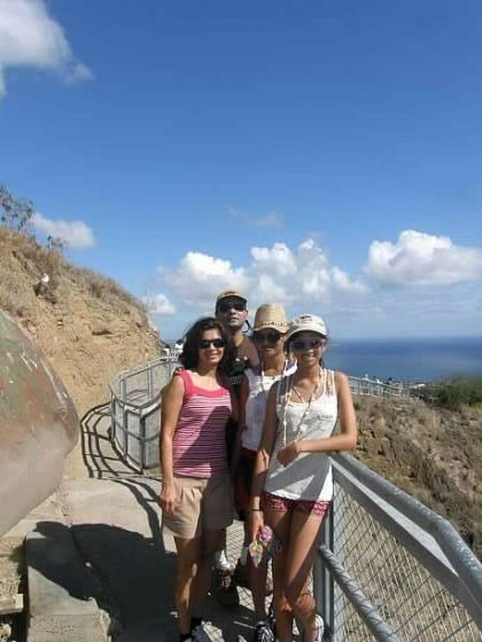 Vera Barretto with her husband and two daughters in Rio de Janeiro.
