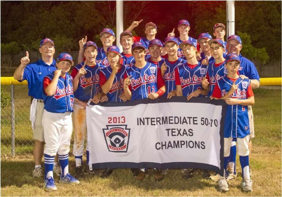 Showing they are number one in Texas and just one victory away from reaching the world championship in California, the Post Oak Little League Intermediate all-star team shows off the banner they won by winning the Texas East state championship last week in Brenham. The team began this week with two victories at the regional tournament in Grand Junction, Colorado and needed just one more victory Wednesday night to claim their regional title.