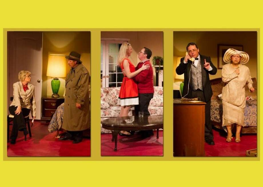 """A powerhouse of talent is assembled for Neil Simon's comedy """"Plaza Suite"""" at Clear Creek Community Theatre. Representing the three segments of the play are (l-r) Kay Lunn and Tim Nibert, Allison Bolinger and Nick Churchill; Jada Augustand Nick Churchill. Weekend shows continue through Sunday, March 10. Call 281-335-5228 for reservations."""