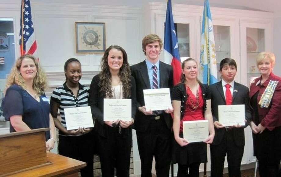 The Libertad Chapter, National Society Daughters of the American Revolution, recently announced the Good Citizens for 2012, each one from a Liberty County High School. Shown from left to right are Catherine Kuchan, LaMeisha Ligons, Allison Meche, Cameron Shew, Betty Ann Ballad, Jason Cuadra and Linda Jamison.