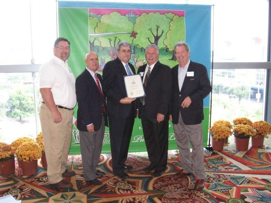Pictured, from left to right, are: Curtis Rodgers of the CLCWA, Frank Weary - Chairman of Exploration Green Advisory Group, John Branch - CLCWA VP, Bill Rosenbaum of LAN Engineering, and James Vick of SWA Architects.