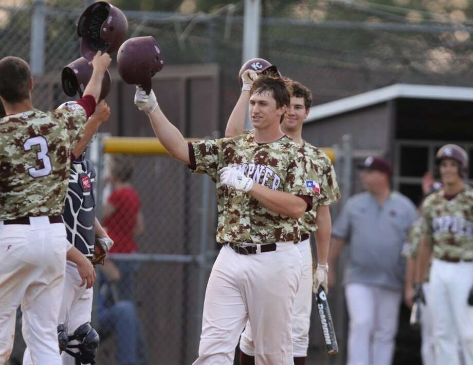 Kempner's Dom Taccolini comes into home after hitting a three-run home run against Clements on Tuesday night. (Photo by Alan Warren)